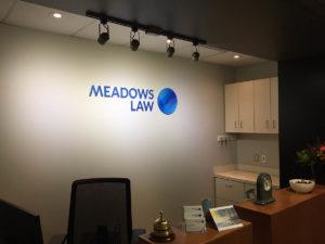 Meadows Law Reception Sign