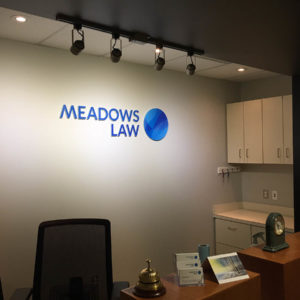 Meadows Law Reception Sign