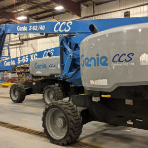 edmonton commercial construction company CCS man lift decals